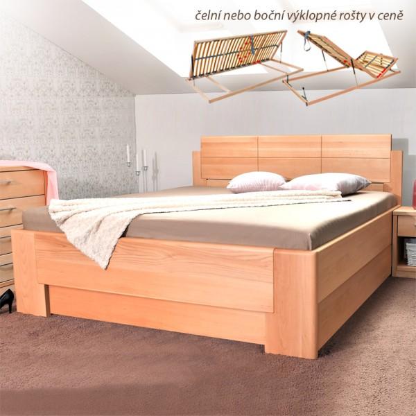 Zvýšená postel DELUXE 1 VÝKLOP - masiv buk průběžný olej 1 přírodní, Kolacia Design