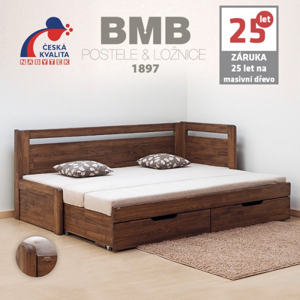 Rozkládací postel LARA TANDEM KLASIK masiv DUB, BMB