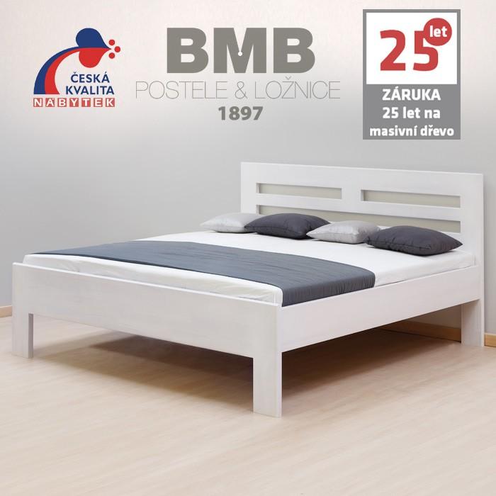 Zvýšená postel ELLA HARMONY masiv buk bělená, BMB