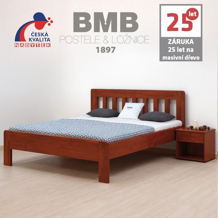 Zvýšená postel ELLA DREAM masiv buk odstín mahagon, BMB