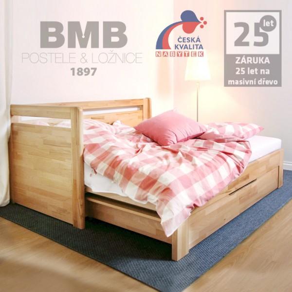 Rozkládací postel LARA TANDEM PLUS masiv buk cink přírodní lak, BMB