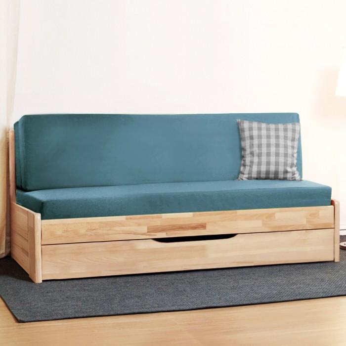 Rozkládací postel CORA TANDEM PLUS masiv buk jádrový - cink, přírodní lak natur, BMB