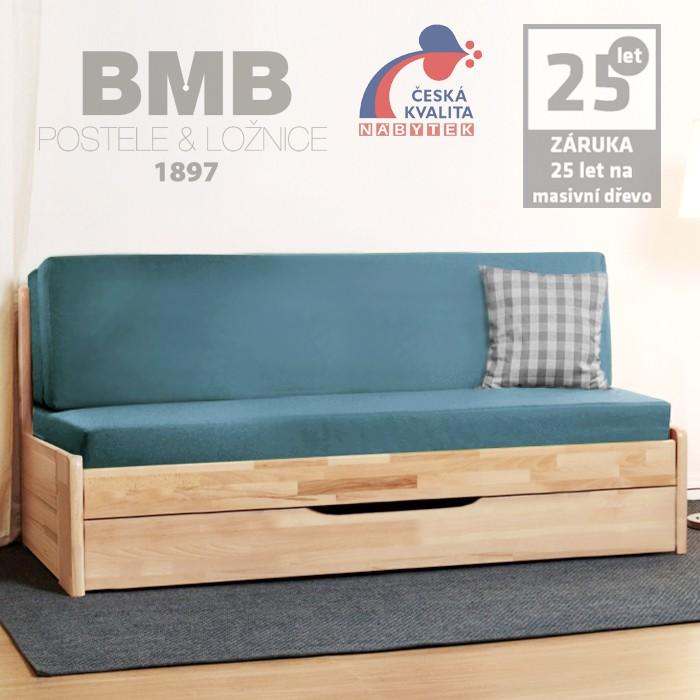 Rozkládací postel CORA TANDEM PLUS masiv buk jádrový - cink, lak natur, BMB