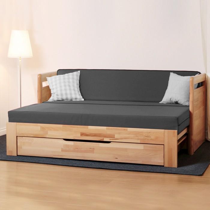 Rozkládací postel TARJA TANDEM PLUS masiv buk jádrový cink - přírodní lak natur, BMB
