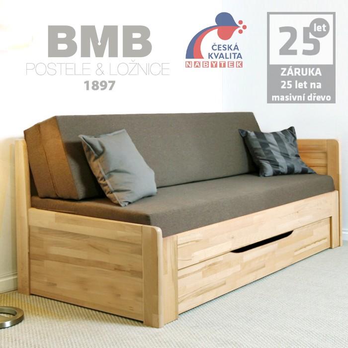 Rozkládací postel MARCY TANDEM PLUS rohová, masiv buk jádrový cink - odstín natur přírodní lak, BMB
