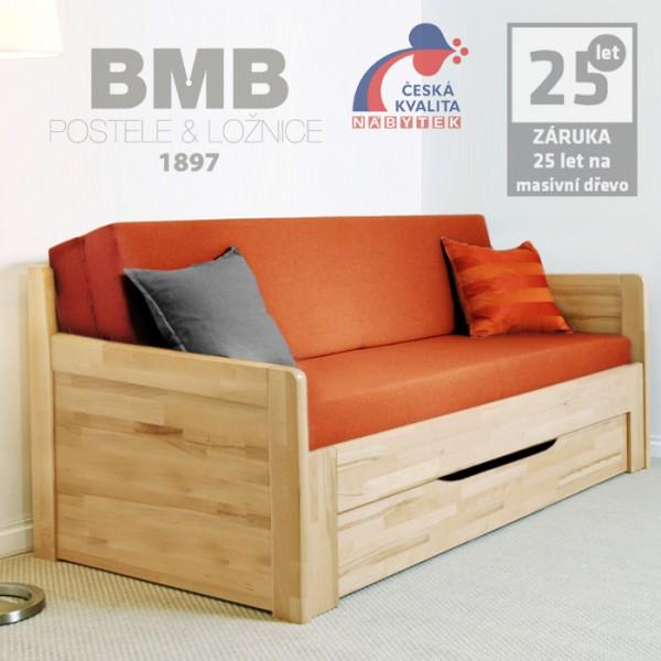 Rozkládací postel MARCY TANDEM PLUS  - jádrový masiv buk cink přírodní odstín natur, BMB