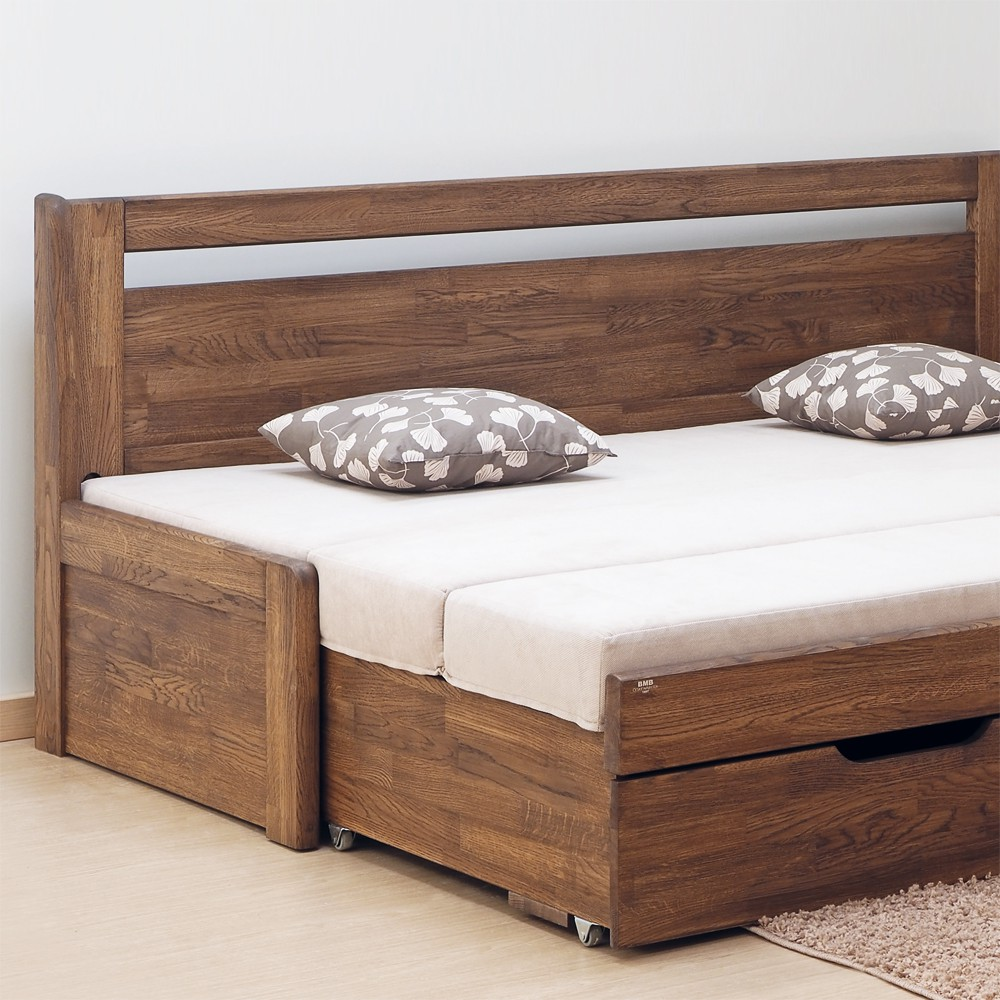 Rozkládací postel LARA TANDEM KLASIK masiv dub cink - odstín wenge, BMB