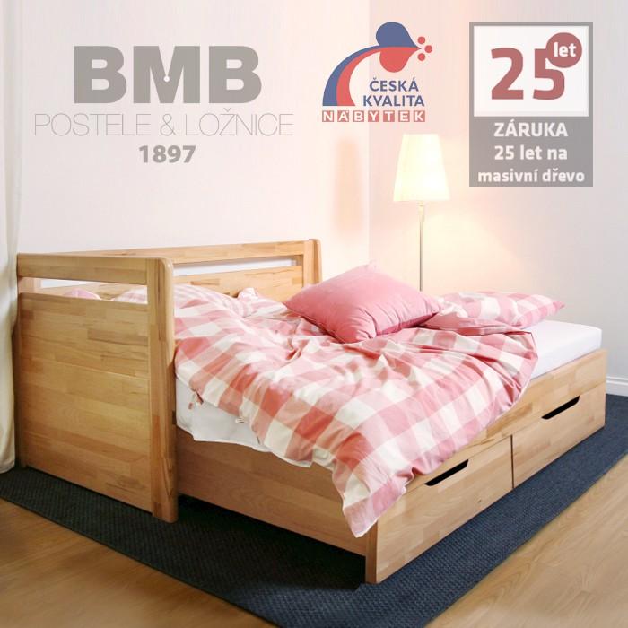 Rozkládací postel LARA TANDEM KLASIK masiv buk cink - odstín natur přírodní, lak, BMB