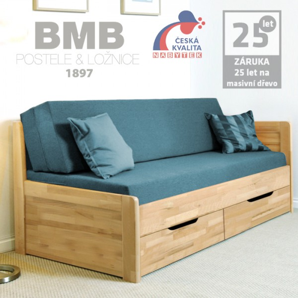 Rozkládací postel MARCY TANDEM KLASIK rohová masiv buk cink jádrový, odstín natur lak, BMB