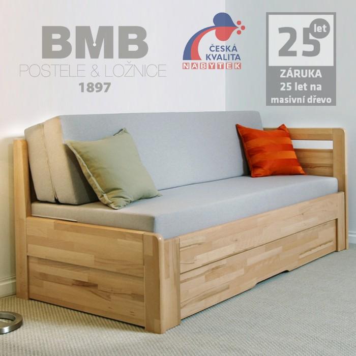 Rozkládací postel LARA TANDEM ORTHO masiv buk cink jádrový, odstín natur přírodní lak, BMB