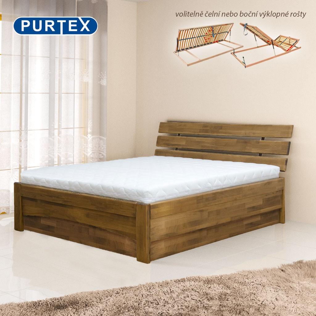 Zvýšená postel AVA PŘÍČKOVÉ ČELO výklop masiv, Purtex