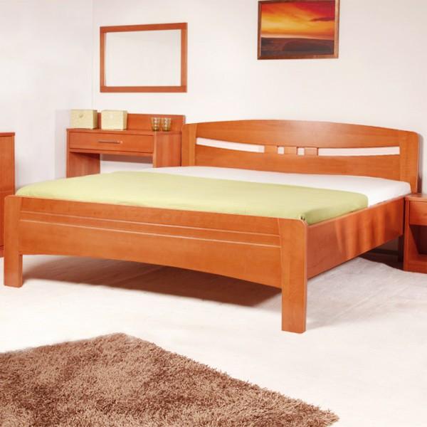 EVITA 1 - zvýšená masivní buková postel v provedení LAK odstín č. 20 třešeň
