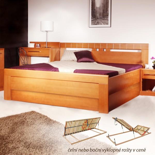 Arleta 1 s úložným prostorem a s rošty - zvýšená masivní buková postel