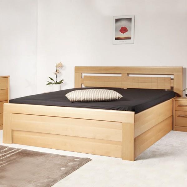 Arleta 3 s úložným prostorem a rošty - zvýšená masivní buková postel LAK č.10 přírodní
