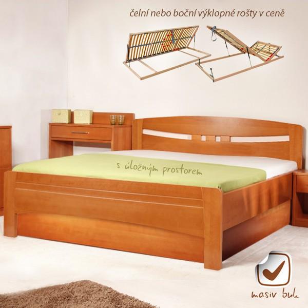 Evita 1 s úložným prostorem a s rošty - zvýšená masivní buková postel