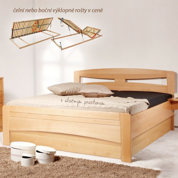 Evita 2 s úložným prostorem a s rošty - zvýšená masivní buková postel