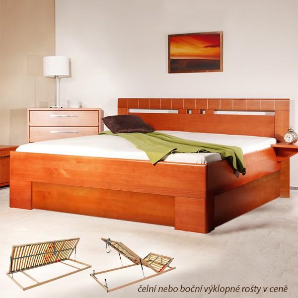 Varezza 1 s úložným prostorem a s rošty - zvýšená masivní buková postel
