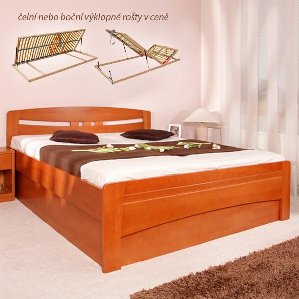 EVITA 6 s úložným prostorem a rošty, ekonomická verze - zvýšená masivní buková postel